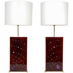 Exceptional Fractale Resin, Ivory and Amethyst Pair of Lamps