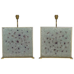 Square Fractale Resin and Amethyst Pair of Lamps