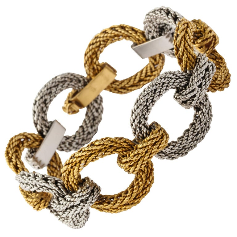 Cartier Two Tone Gold Rope Link Bracelet For