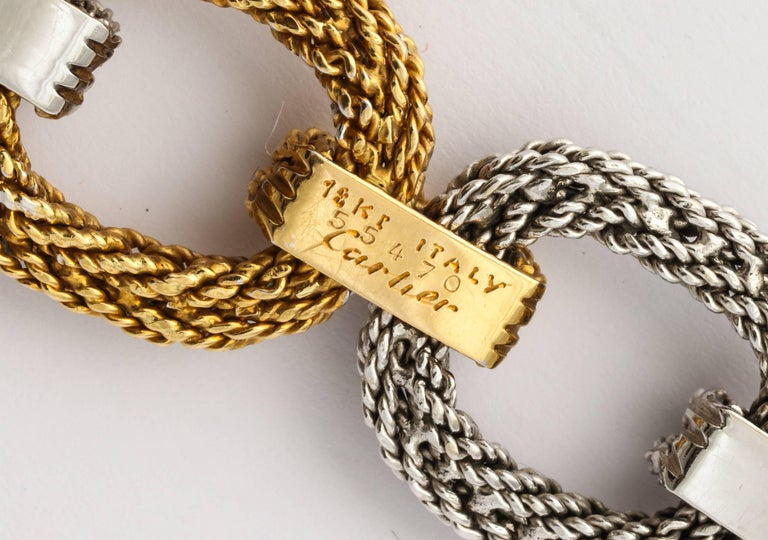 Cartier Two-Tone Gold Rope Link Bracelet In Excellent Condition For Sale In New York, NY