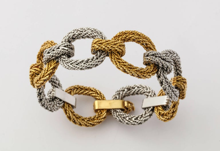 Cartier Two-Tone Gold Rope Link Bracelet For Sale 3