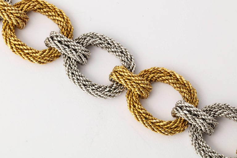 Cartier Two-Tone Gold Rope Link Bracelet For Sale 4