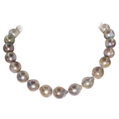High Luster Tahitian Freshwater Large Pearl Gold Clasp Necklace