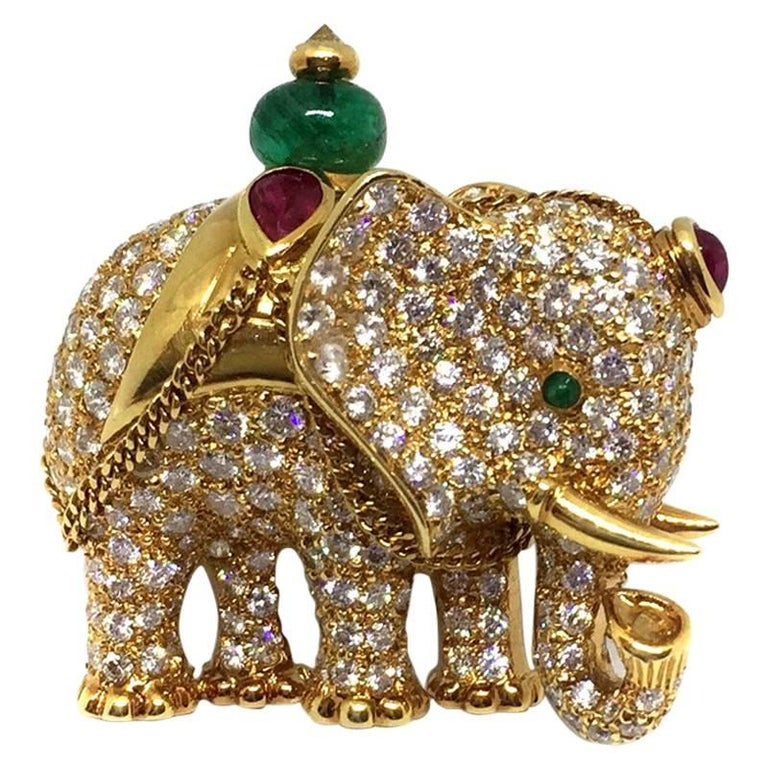 Diamond Emerald Ruby Gold Elephant Brooch