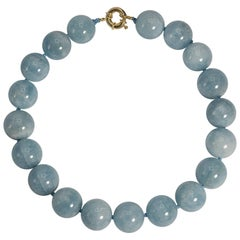 Large Natural Aquamarine Beads Necklace