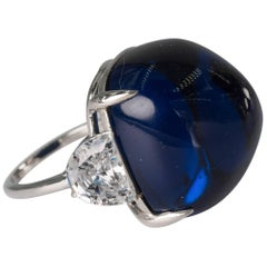 Manamde  Royal Kashmir Royal Blue Cabochon Sapphire CZ Diamond Ring