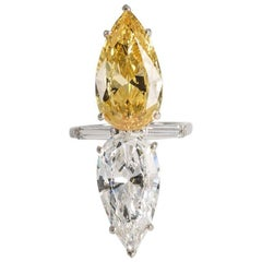 Art Deco Style Double Faux Pear Canary White Diamond Ring