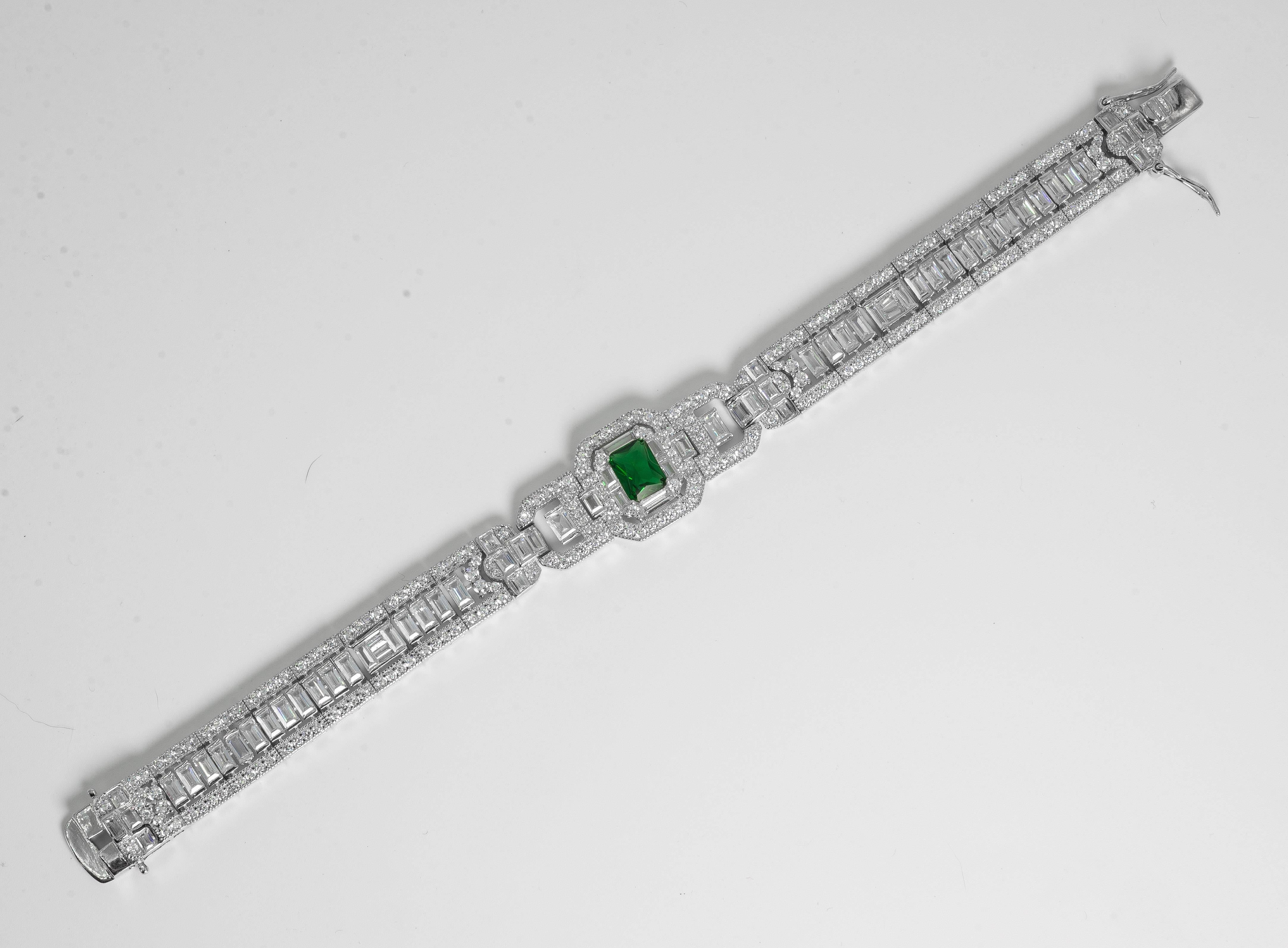 Magnificent Costume Jewelry Art Deco Style Diamond Emerald Bracelet In New Condition For Sale In New  sc 1 st  1stDibs & Magnificent Costume Jewelry Art Deco Style Diamond Emerald Bracelet ...