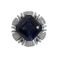 Magnificent Costume Jewelry  20 Carat Faux  Sapphire  Diamond Ring