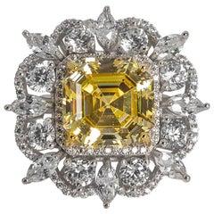 Magnificent Costume Jewelry 15 Carat  Yellow Emerald Cut CZ Diamond Ring