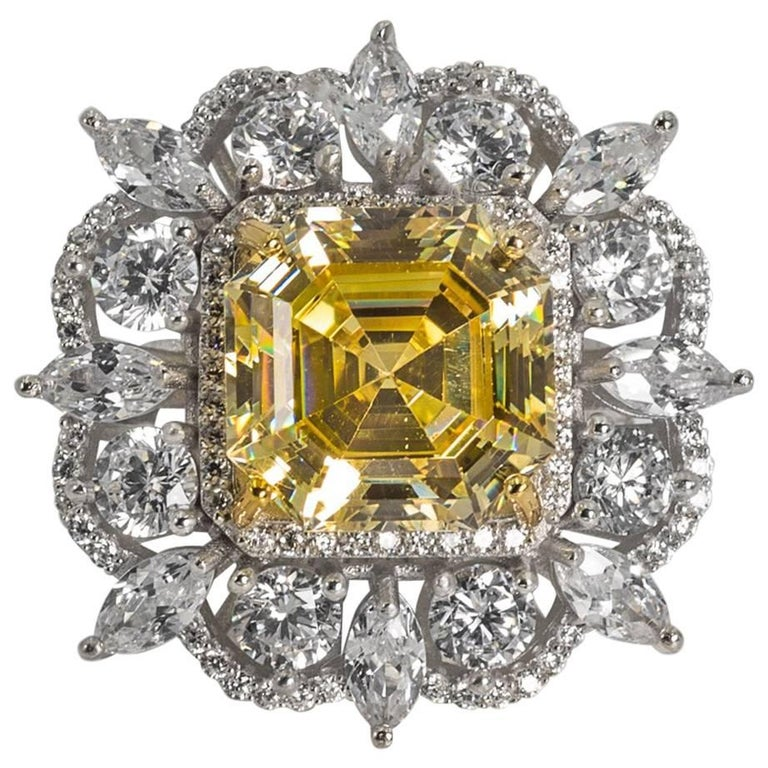 magnificent costume jewelry 15 carat yellow emerald cut