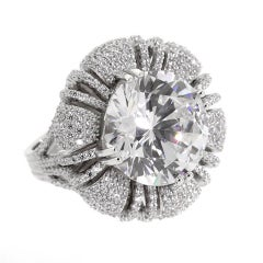 Magnificent Costume Jewelry 15 Carat Round Pave CZ Diamond Ring