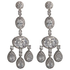 Magnificent Costume Jewelry Diamond  Shimmering Girandole Chandelier Earring