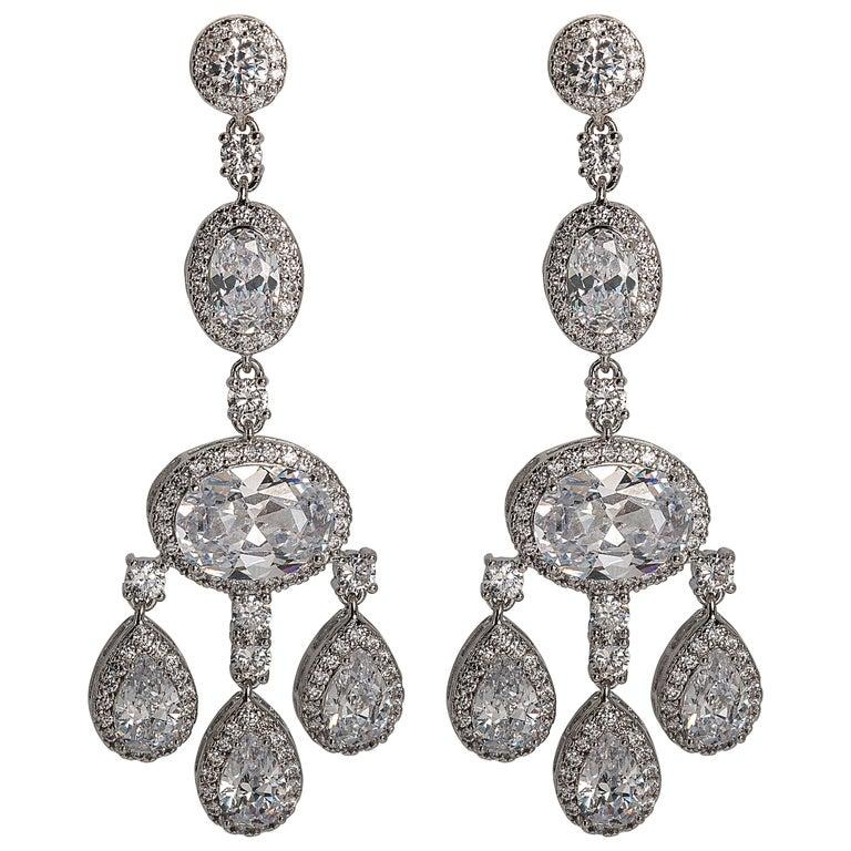 Cubic Zirconia Shimmering Girandole Chandelier Earring For Sale