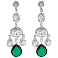 Magnificent Costume Jewelry Diamond Emerald Girandole Chandelier Earring