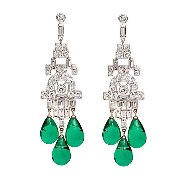 Magnificent Costume Jewelry Diamond Emerald Art Deco Style Chandelier Earrings For