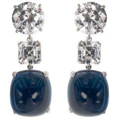 Amazing Faux Diamond Large Cabochon Sapphire Earrings