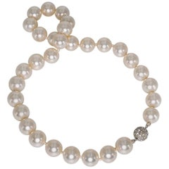 Vintage Unworn Bergdorf Goodman Classic 12mm Strand Faux Pearl Necklace