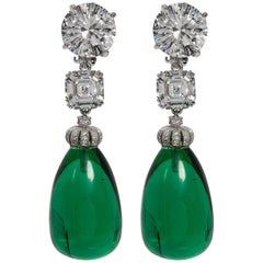 Magnificent Costume Jewelry Diamond Large Cabochon Emerald Drop Earrings