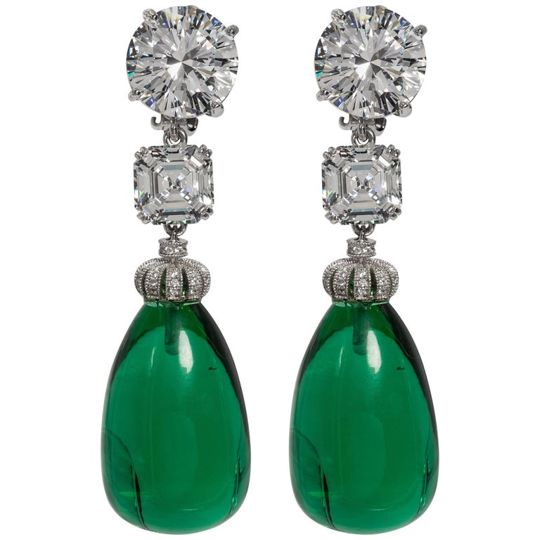 Magnificent Costume Jewelry Diamond Large Cabochon Emerald Drop Earrings For