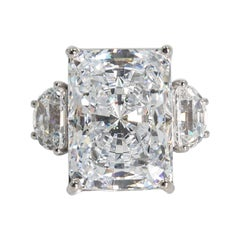 Magnificent Faux White 25 Carat Radiant Cut Diamond Ring