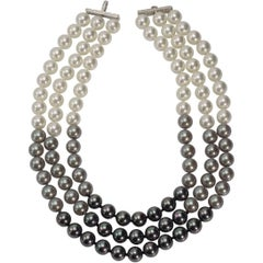 Elegant Triple Strand Shaded White Tahitian Black Faux Pearl Necklace