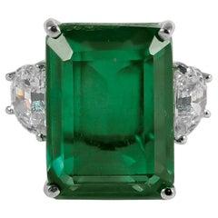 Synthetic 25 Carat Rectangular Step Cut Emerald Diamond Ring
