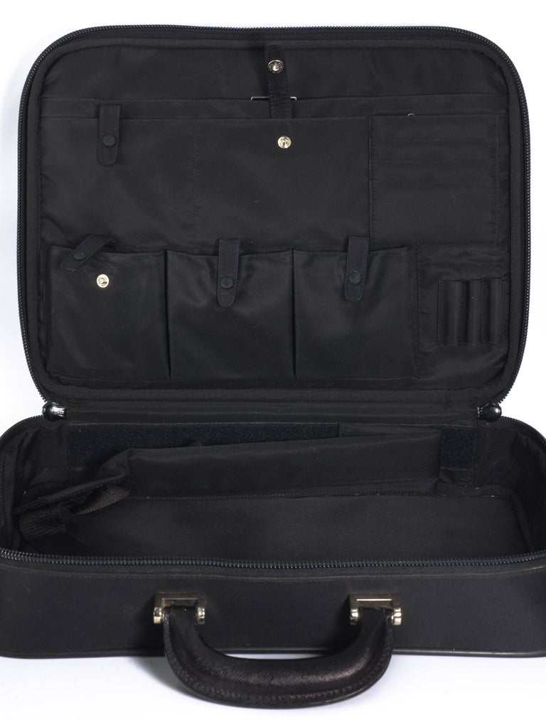 79a11bc4c37d Prada nero nylon computer shoulder briefcase. Interior 16'' by 12''.