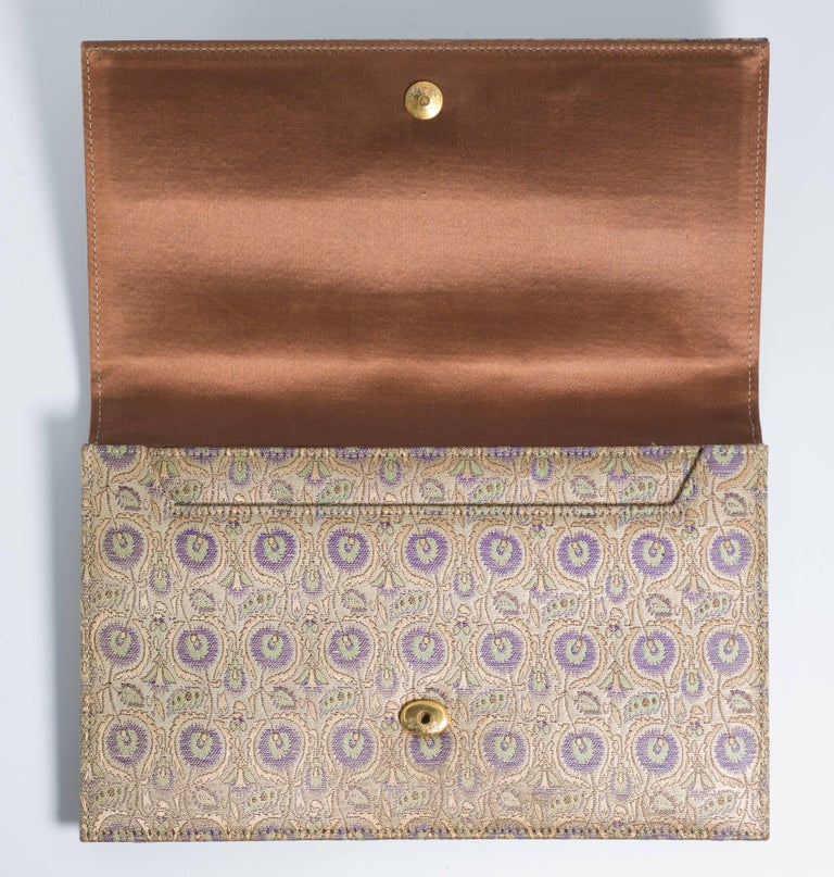 Mint condition vintage Bianchini Ferrier silk Persian themed fabric for Cartier evening pochettes made by Clive Shilton, who designed and made Princess Diana's bridal purse and shoes.
