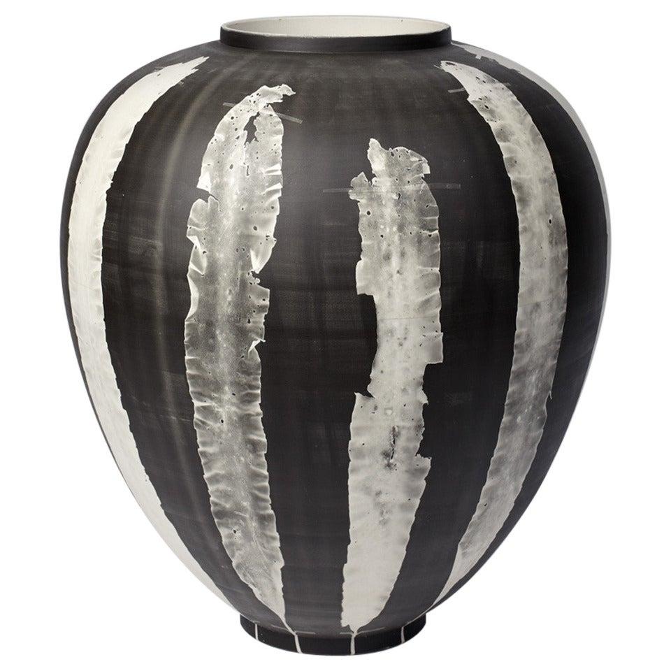 Glithero Silverware Black White Printed Porcelain Vase Large For Sale