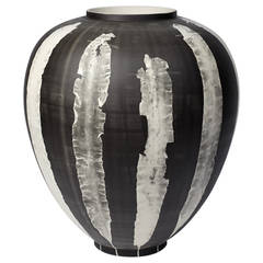 Glithero Silverware Black White Printed Porcelain Vase Large