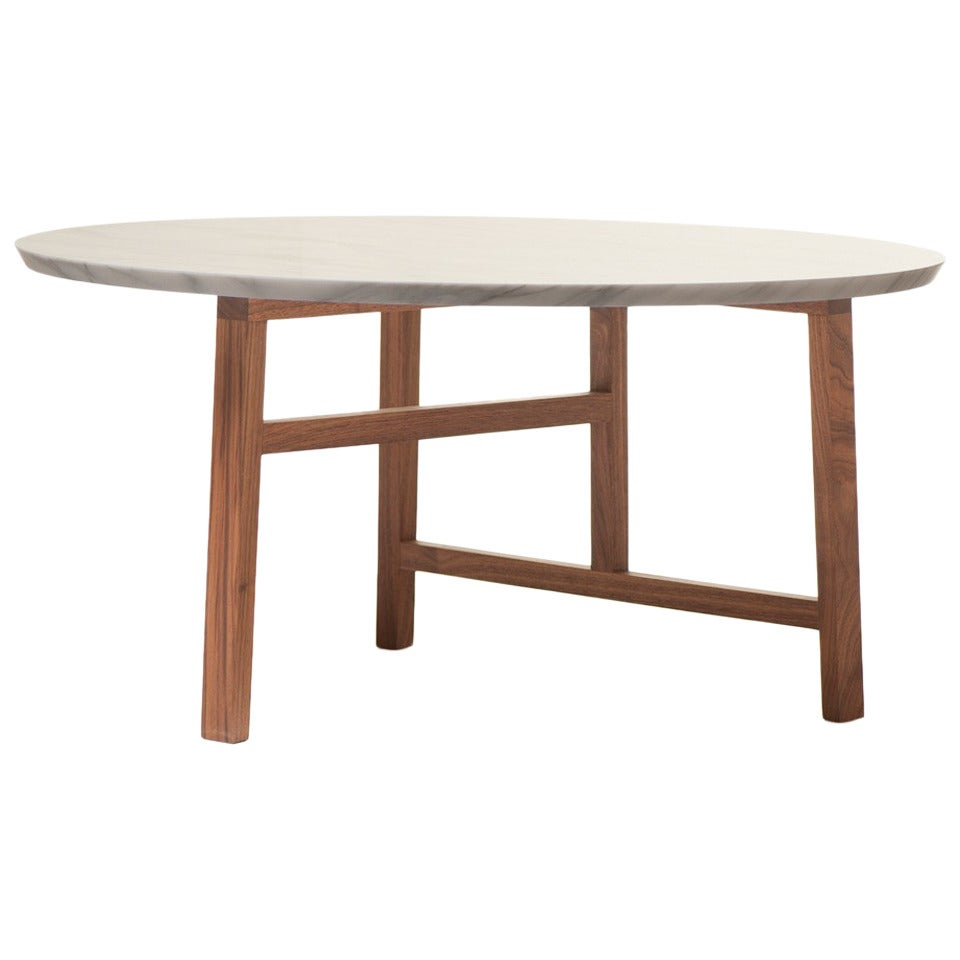 Trio round coffee table with marble top at 1stdibs Round marble coffee tables