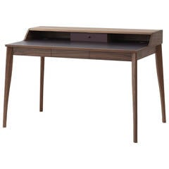 Pinch Yves Desk Walnut Aubergine Leather