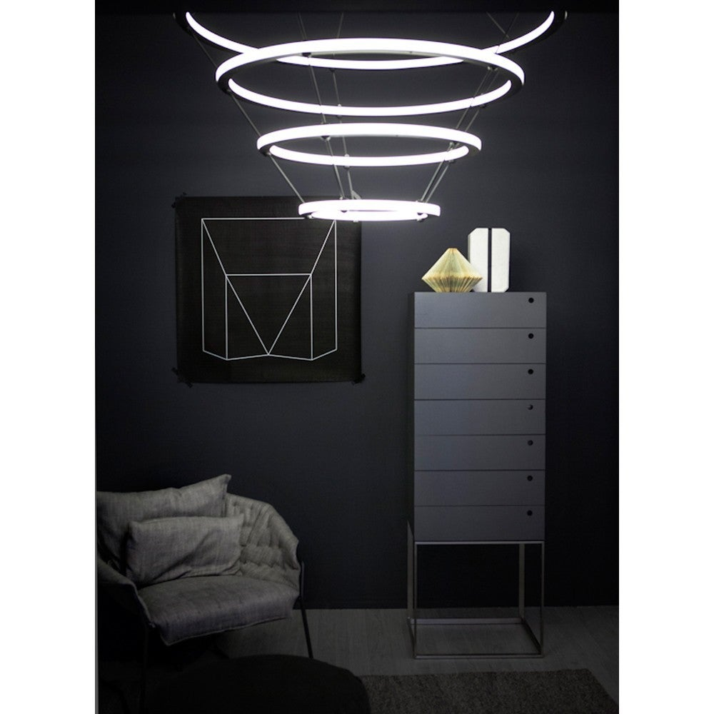 Contemporary Paul Loebach for Roll & Hill Four-Ring Halo Chandelier For Sale