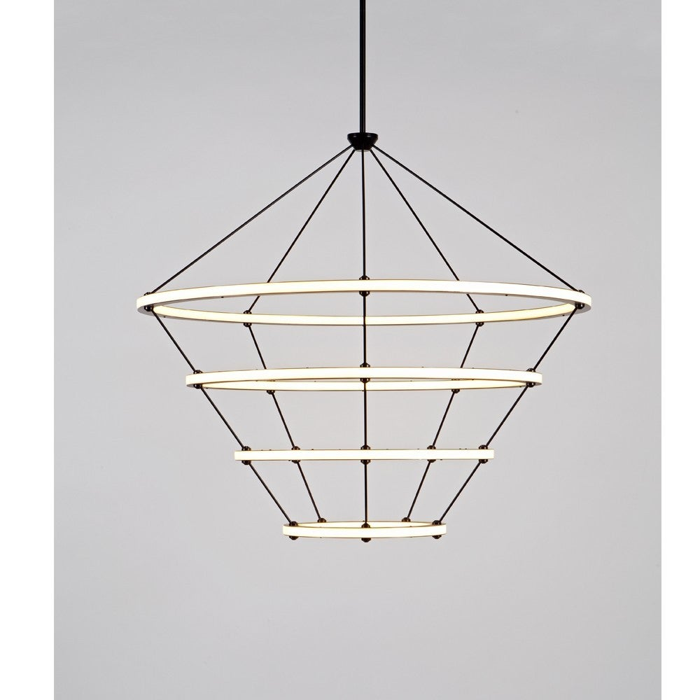 Paul Loebach envisioned the Halo series for Roll & Hill as an exercise in the graceful use of energy-efficient LED technology. The Halo collection, which includes a chandelier, a pendant and a wall sconce, is distinguished by its use of