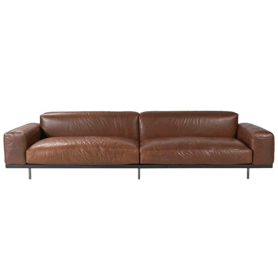 Four-Seat Brown Leather Arflex Naviglio Sofa For Sale