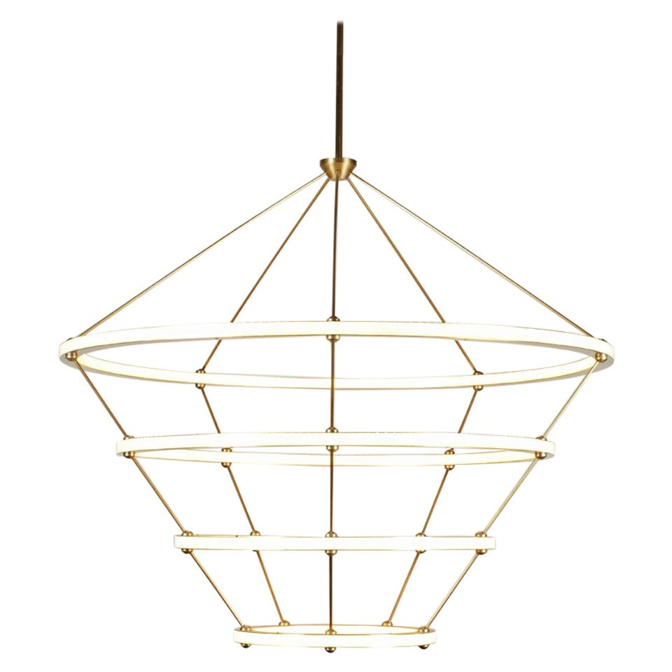 Paul Loebach for Roll & Hill Four-Ring Halo Chandelier For Sale
