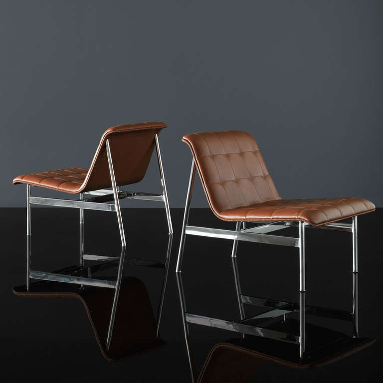 Modern Charles Pollack CP1 Lounge Chair in Chestnut Leather For Sale