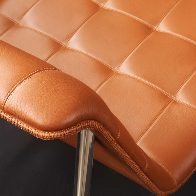 American Charles Pollack CP1 Lounge Chair in Chestnut Leather For Sale