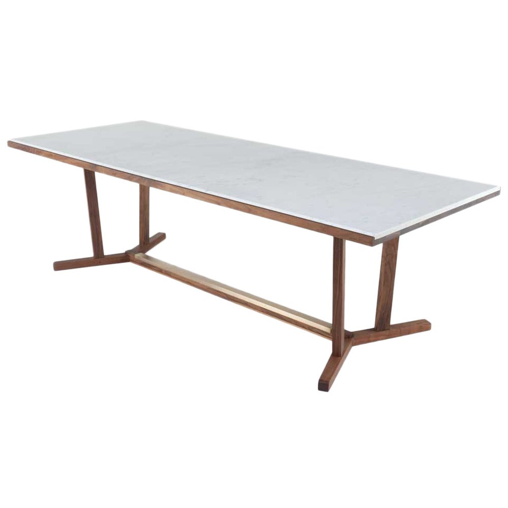 Medium shaker dining table with marble top at 1stdibs for Marble top dining table