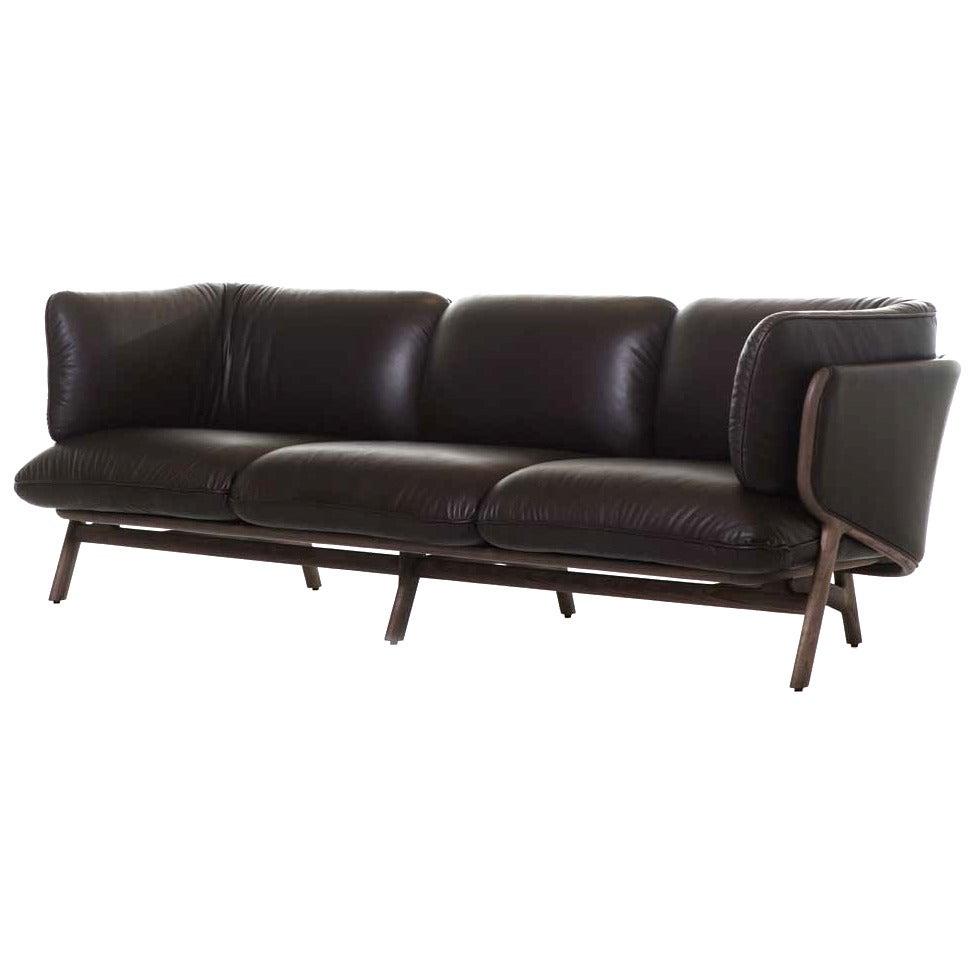 Luca Nichetto For De La Espada Three Seat Stanley Sofa Walnut Grade A For  Sale