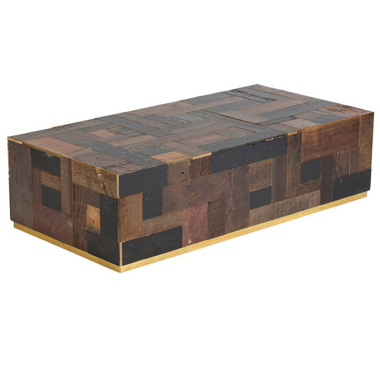 Piet Hein Eek Coffee Cube Table In Reclaimed Dark Wood Scrapwood With Brass Band For Sale At 1stdibs