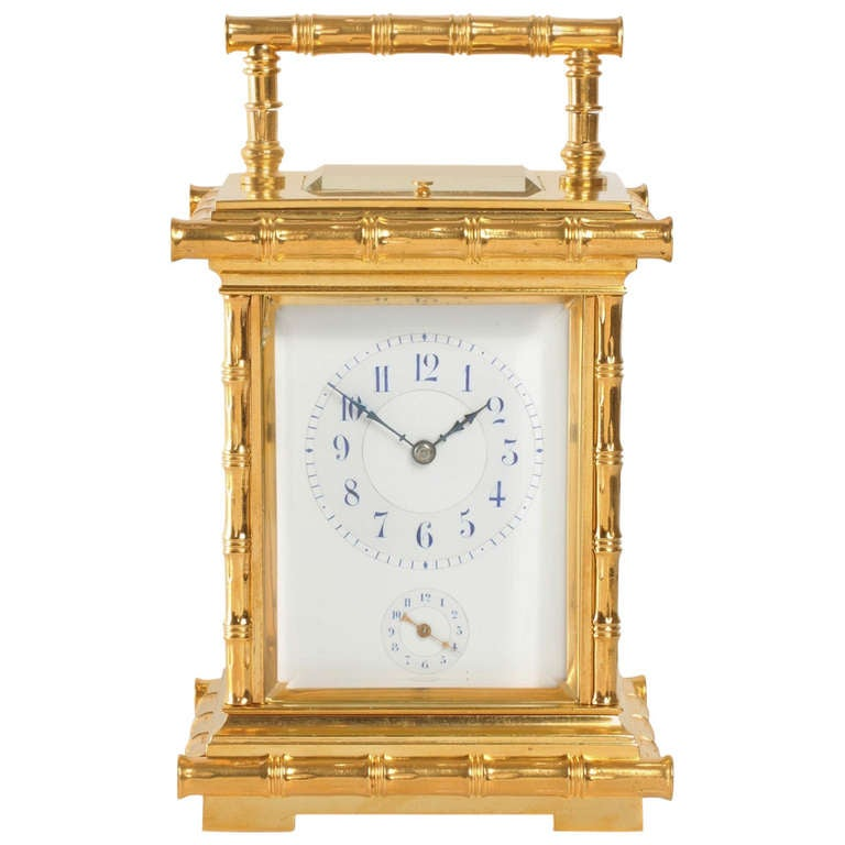 A French Gilt Brass Bamboo Case Carriage Clock L F Circa