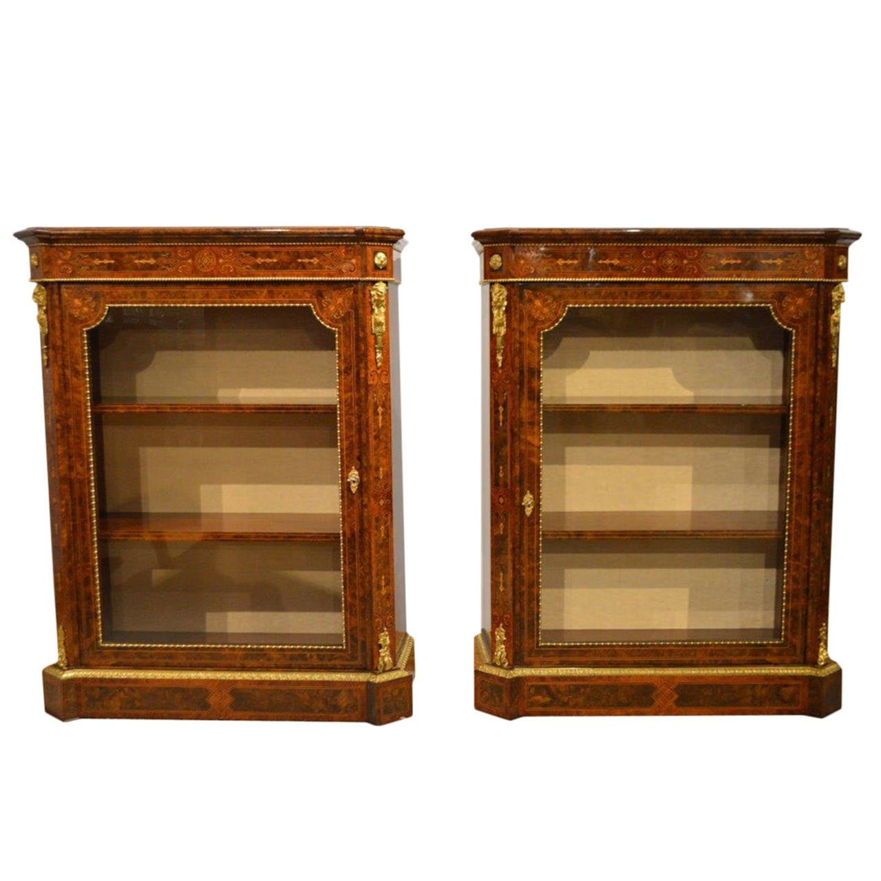 Pair of Burr Walnut and Marquetry Antique Pier Cabinets by