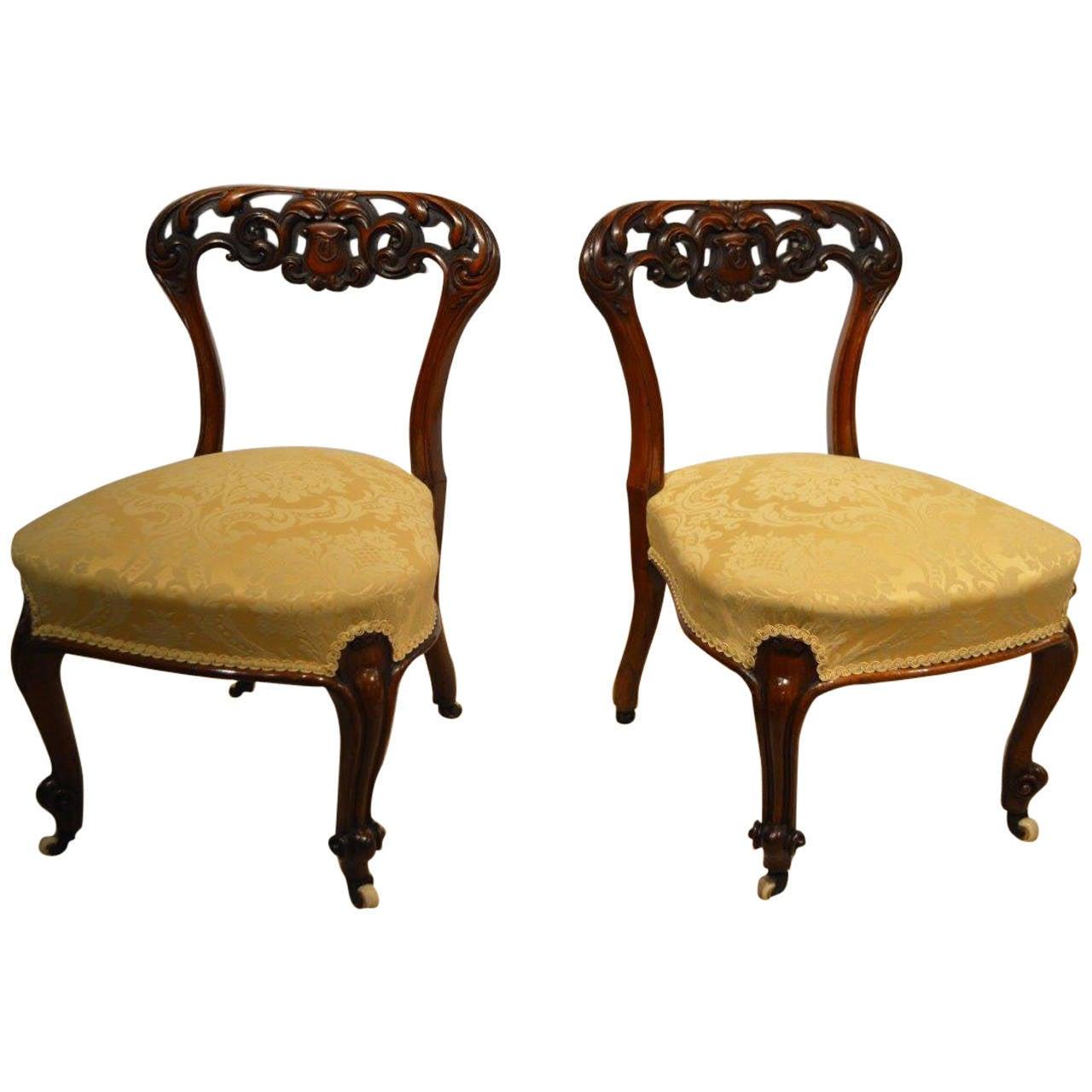 Beautiful Pair Of Small Walnut Victorian Period Nursing Chairs At 1stdibs