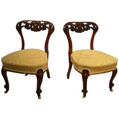 Beautiful Pair of Small Walnut Victorian Period Nursing Chairs