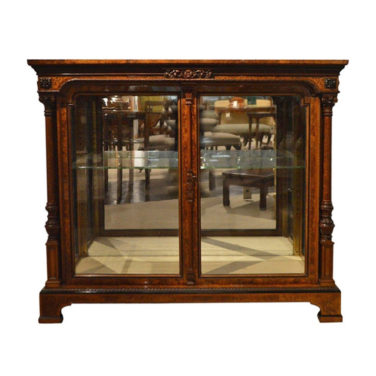 Pier One Furniture Quality: Exhibition Quality Burr Walnut Victorian Period Two-Door
