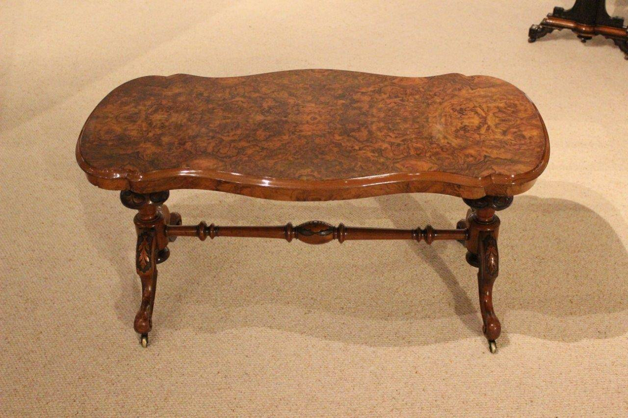 burr walnut victorian period antique coffee table adapted at 1stdibs. Black Bedroom Furniture Sets. Home Design Ideas