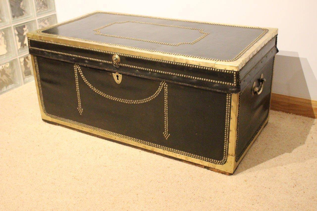 Leather And Brass 19th Century Camphor Trunk Or Coffee Table At 1stdibs