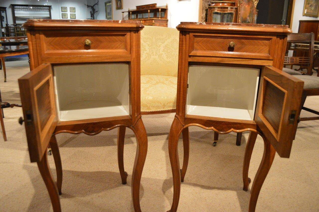 Good Pair Of Walnut French Antique Bedside Cabinets Or Cupboards In Excellent Condition For